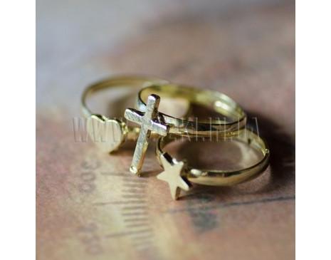 "Кольцо ""Сердце Крест Звезда"""